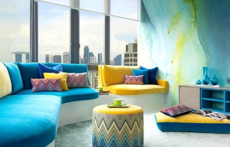decoracion de interiores salones acogedores azul sofa pared ideas