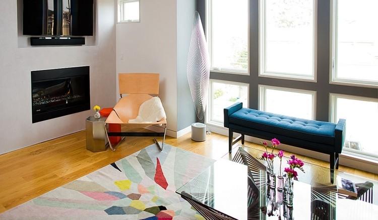 decoracion de interiores salones acogedores banco azul ideas