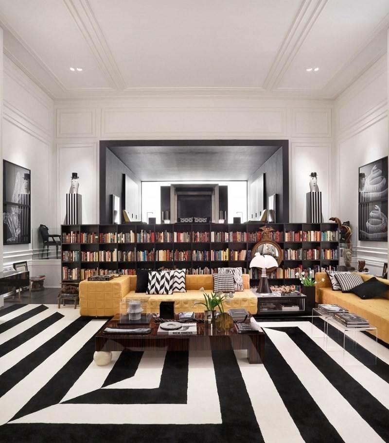 decoracion de salones alfombra blanco negro ideas