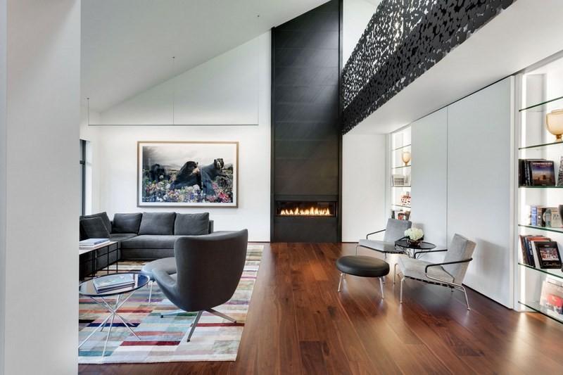 decoración de salones chimenea moderna ideas
