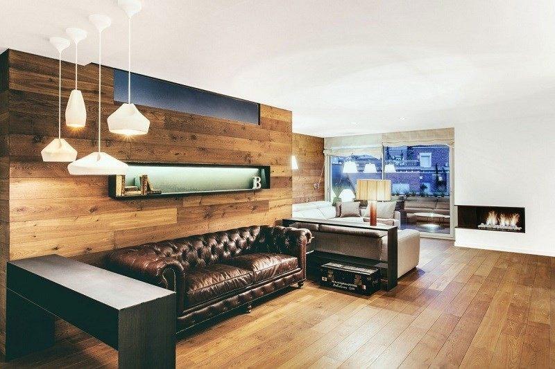 decoración de salones dos seciones sofa cuero ideas