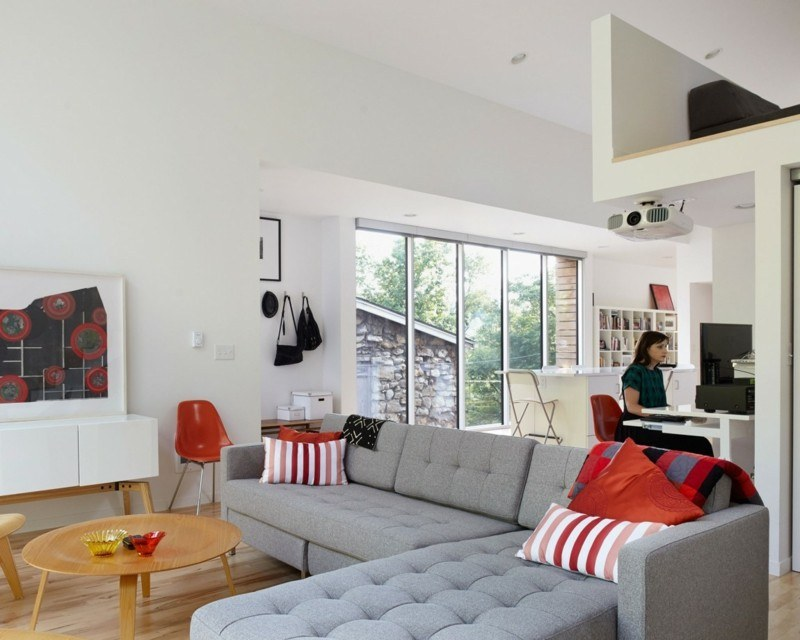decoración de salones modernos cojines rojo ideas