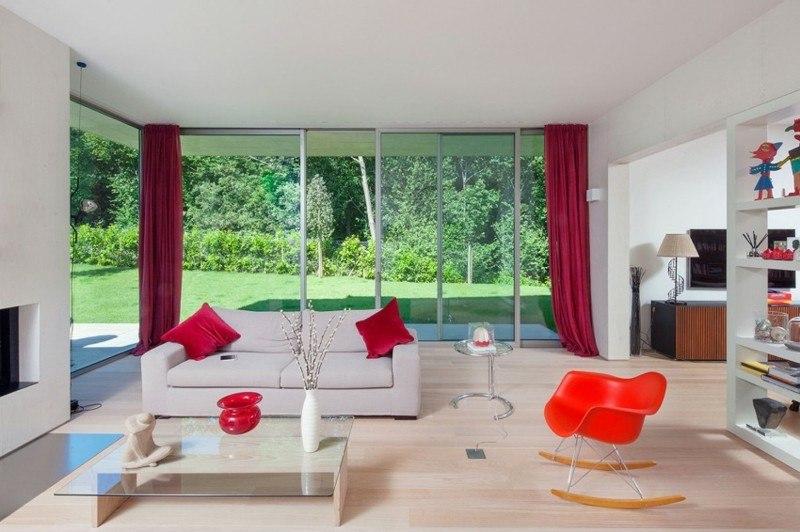 decoración salones modernos silla roja ideas