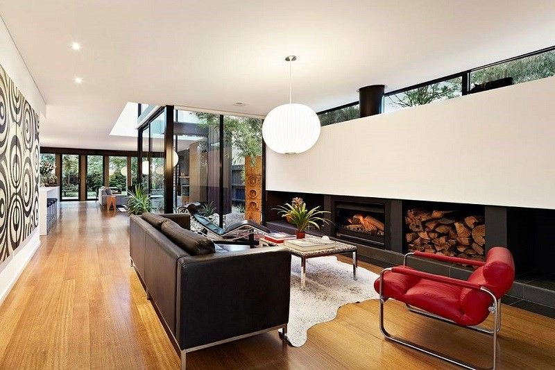 decoracion de salones sillon rojo chimenea ideas