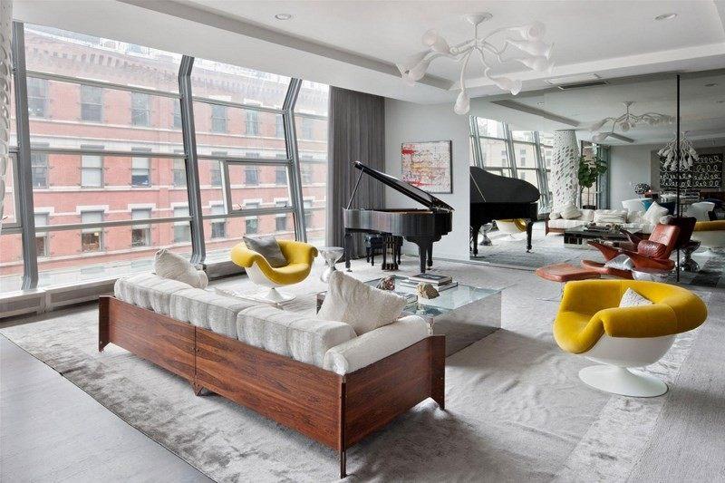 decoración de salones sillones amarillo piano ideas