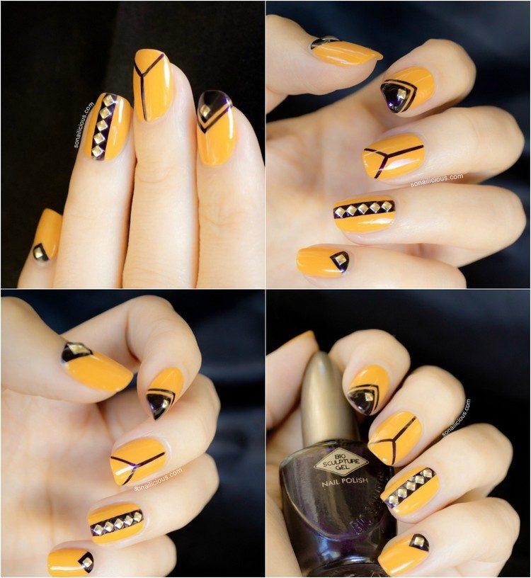decoracion de unas tendencias 2016 amarillo negro cristales ideas