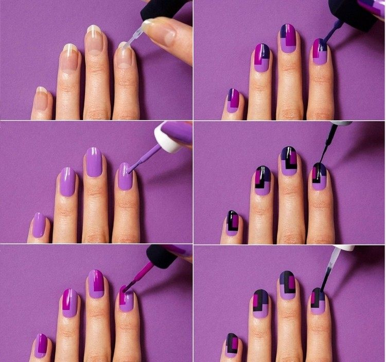 decoracion de unas tendencias 2016 purpura negro tutorial ideas