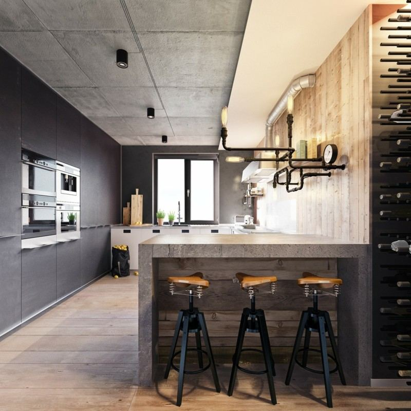 Decoraci n industrial en el sal n la cocina y el comedor for Sillas para barra en madera