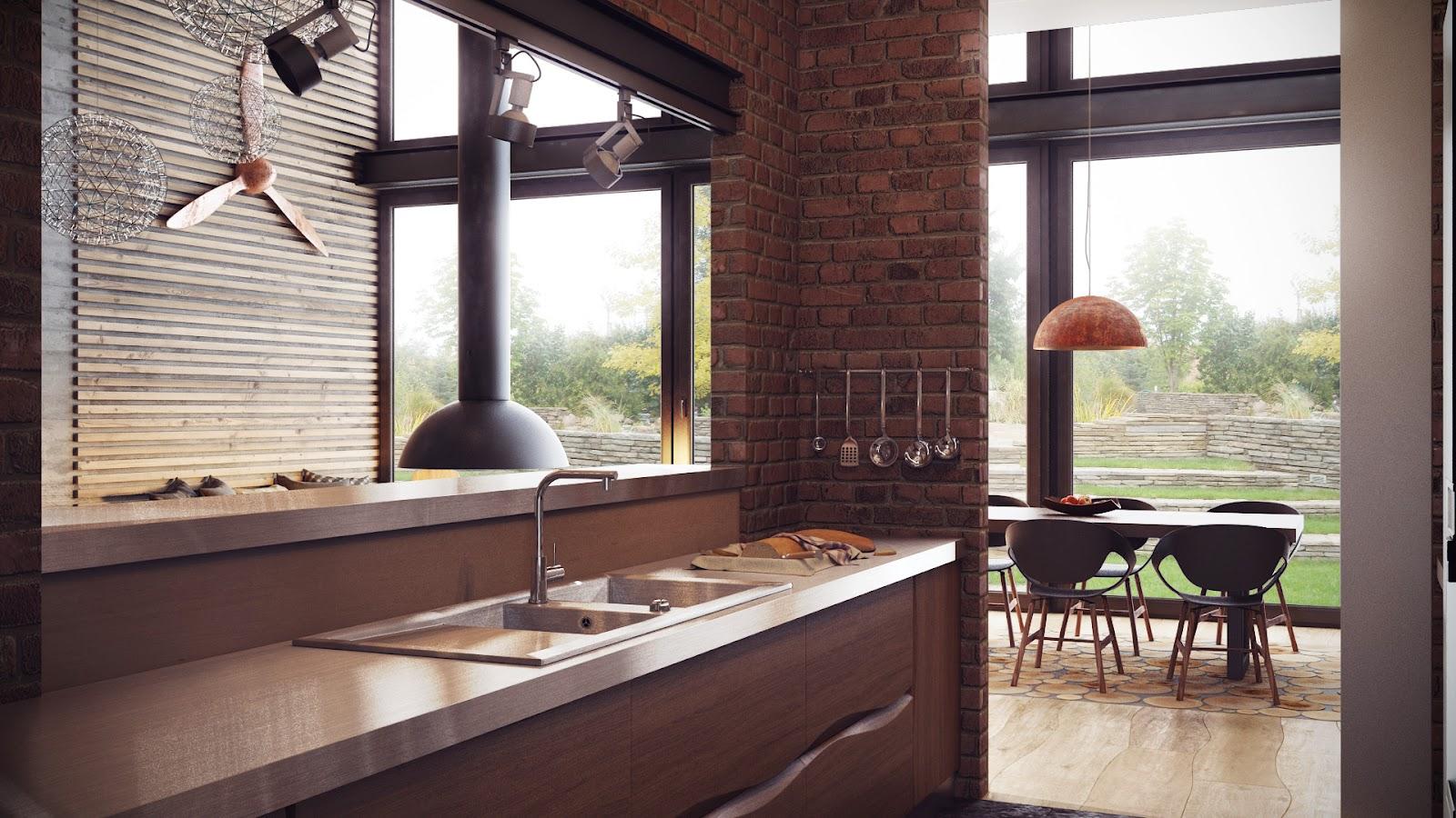decoración industrial cocina armarios madera ideas