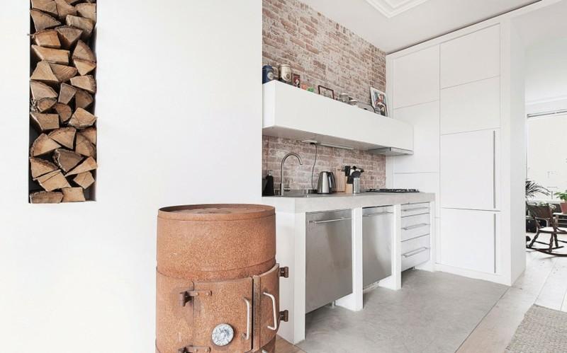 Decoraci n industrial en el sal n la cocina y el comedor for Cocina industrial blanca
