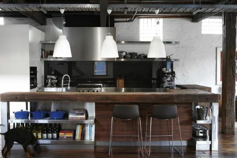 decoracion industrial cocina isla grande madera ideas