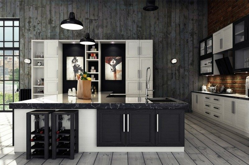 decoracion industrial cocina isla grande ideas