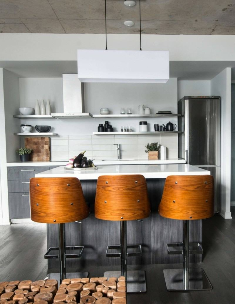 decoración industrial cocina pequena sillas madera ideas