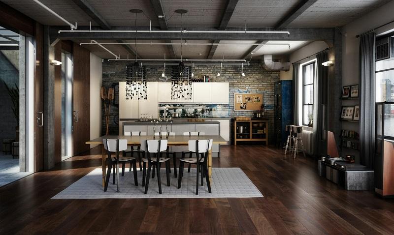 decoración industrial comedor cocina amplios ideas