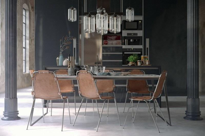 decoración industrial comedor sillas cuero ideas