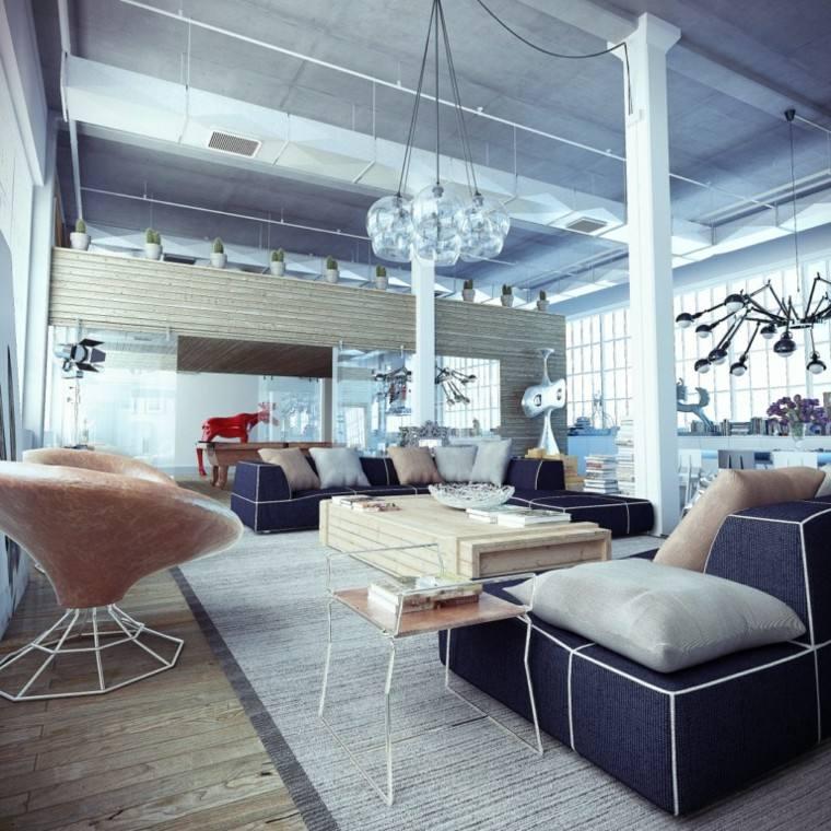 decoracion industrial grises asientos cuero