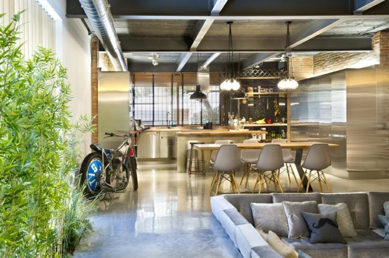 decoracion industrial grises bicicletas bambu