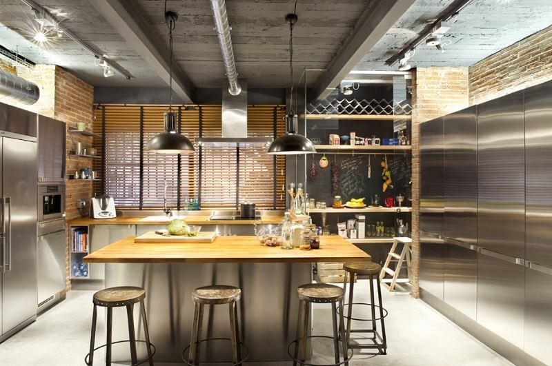 decoracion industrial isla centro cocina ideas