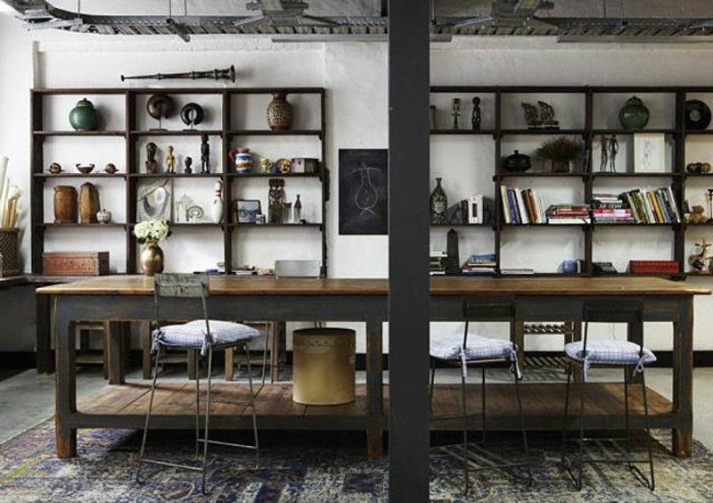Decoración industrial en el salón, la cocina y el comedor