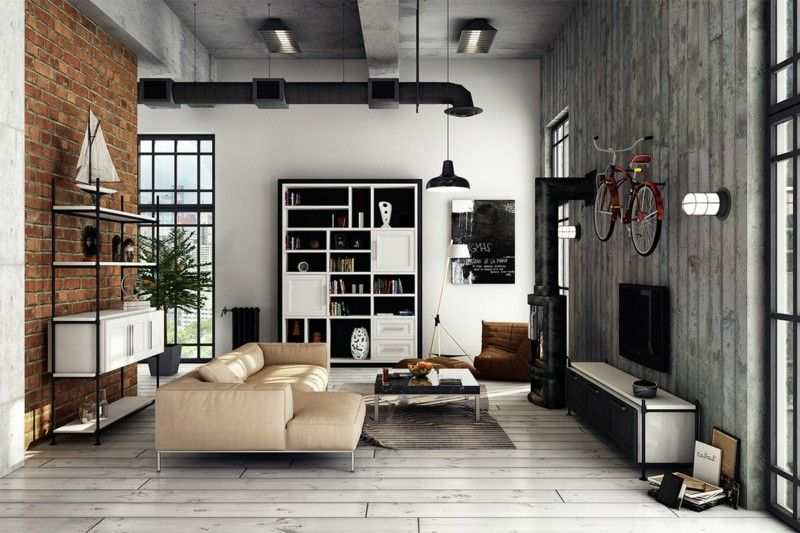decoraci n industrial en el sal n la cocina y el comedor. Black Bedroom Furniture Sets. Home Design Ideas