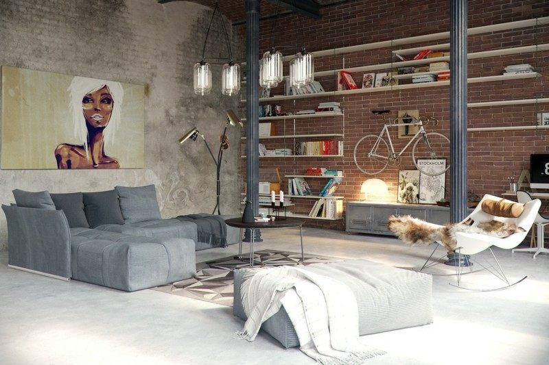 Decoracion Industrial Paredes ~ decoracion industrial salon pared bicicleta ideas