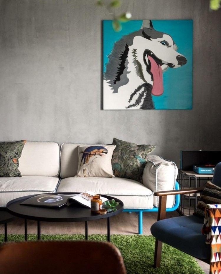 decoracion interiores salones acogedores alfombra verde ideas