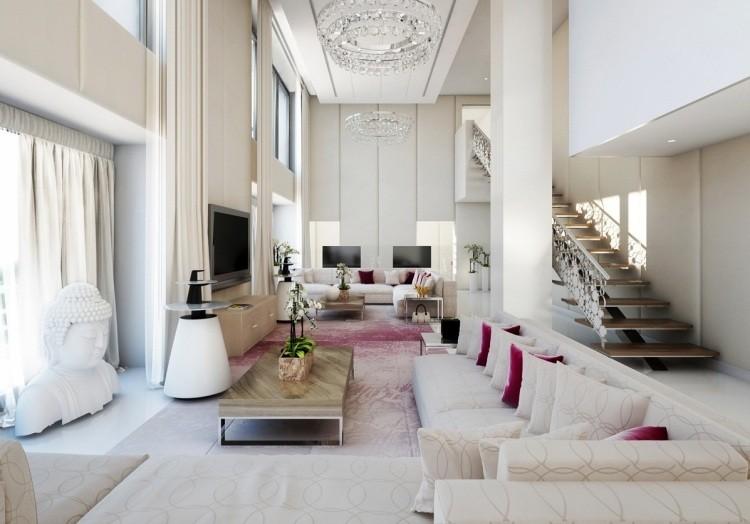 decoracion interiores salones acogedores amplio sofa blanca ideas