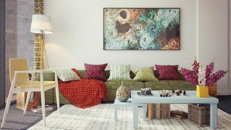 decoracion interiores salones acogedores cuadro cojines ideas