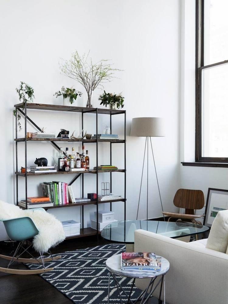 decoracion interiores salones acogedores estanteria madera ideas