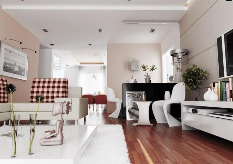 decoracion interiores salones acogedores paredes beige