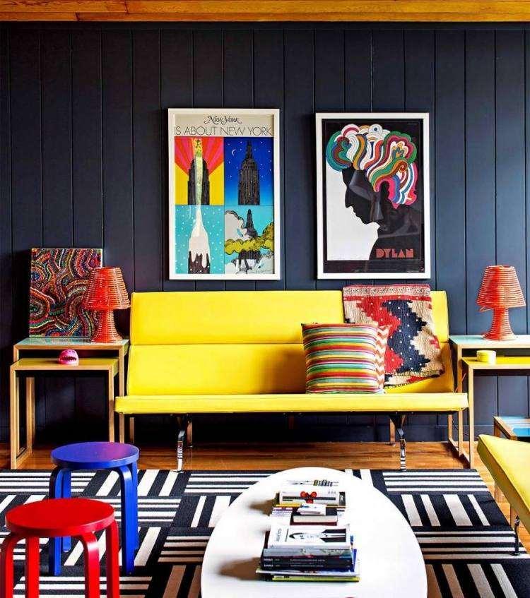 decoracion interiores salones acogedores sillas azul rojo ideas