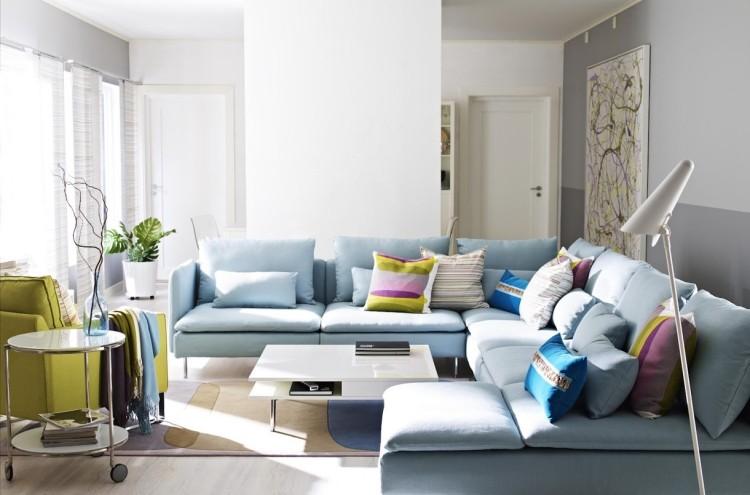 decoracion interiores salones acogedores sofa azul claro cojines ideas