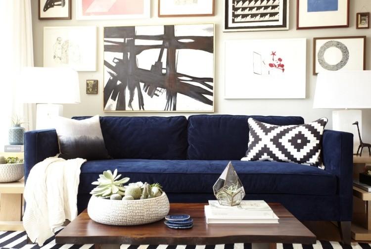 decoracion interiores salones acogedores sofa azul cuadros ideas