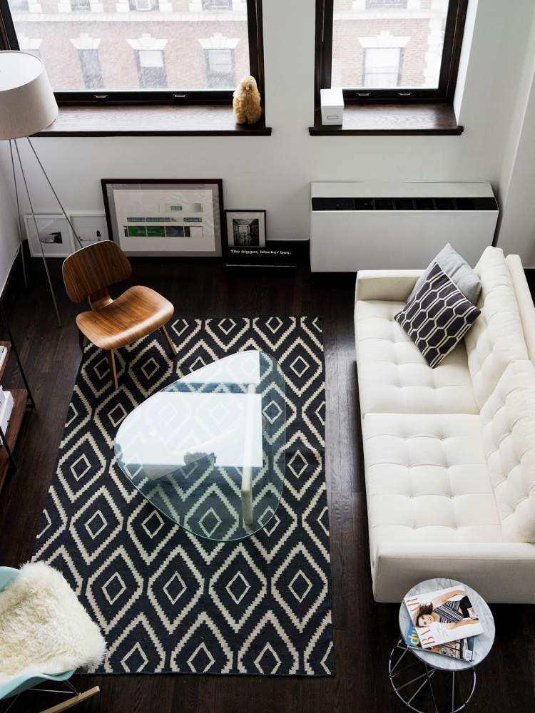 decoracion interiores salones acogedores sofa blanca mesa cristal ideas
