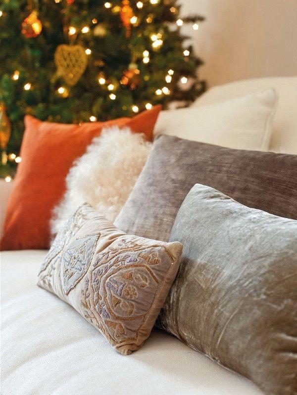 decoración navideña casa espanola moderna cojines ideas