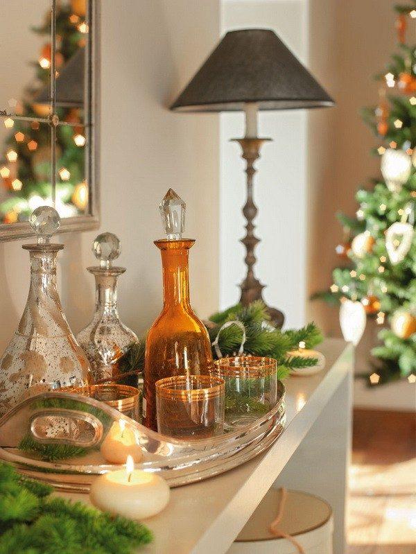 decoración navideña casa espanola moderna estante ideas