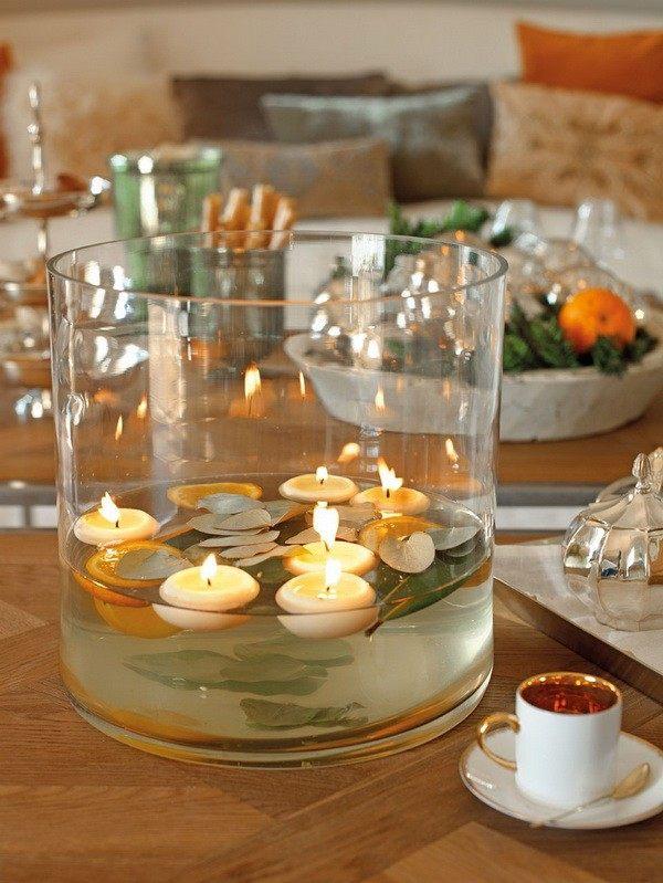 decoracion navidena casa espanola moderna jarron velas ideas