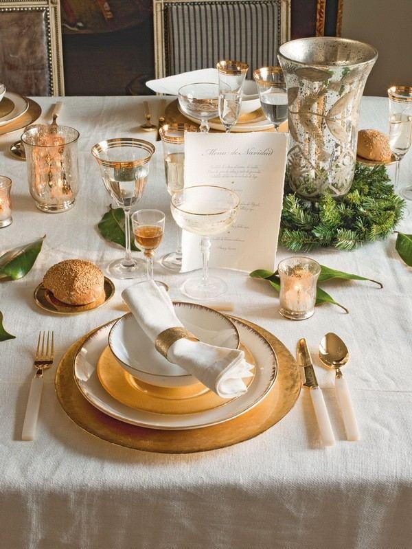 decoracion navidena casa espanola moderna vajilla oro ideas