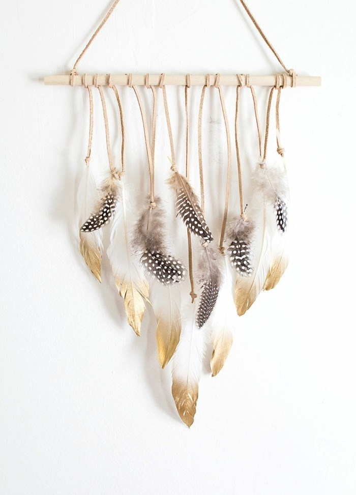 decoracion otono estilo chic preciosa plumas pared ideas