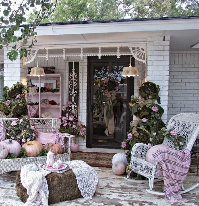 decoracion otono porche puerta estilo vintage ideas