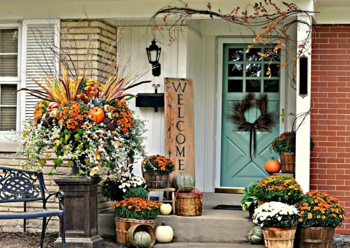 decoracion otono porche puerta flores preciosas ideas