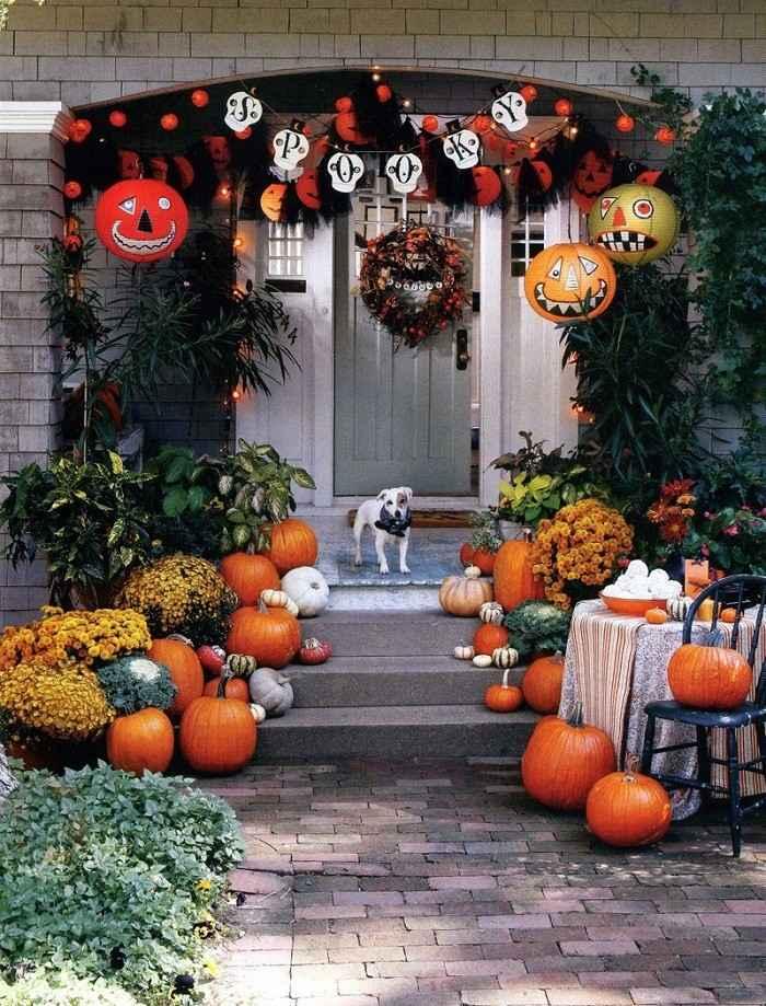 decoracion otono porche puerta guirnalda papel ideas