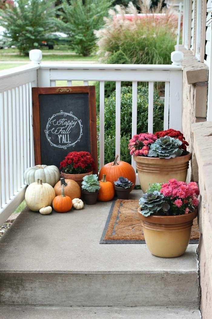 decoracion otono porche puerta pizarra deseos ideas