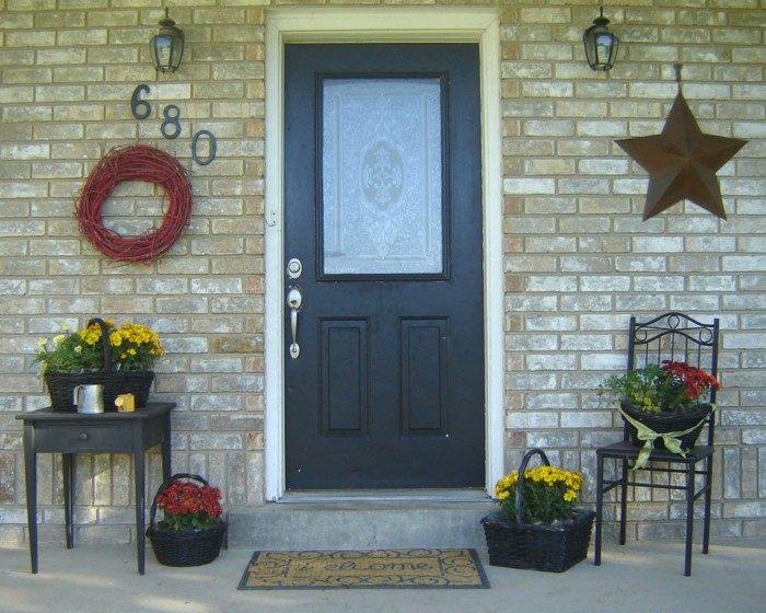 decoracion porche otono puerta estrella guirnalda ideas