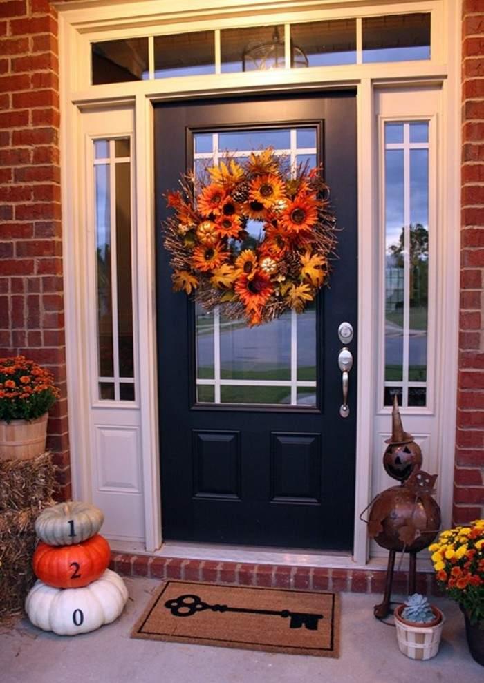 decoracion porche otono puerta guirnalda flores ideas