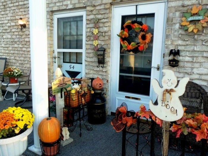 decoracion porche otono puerta guirnaldas flores ideas