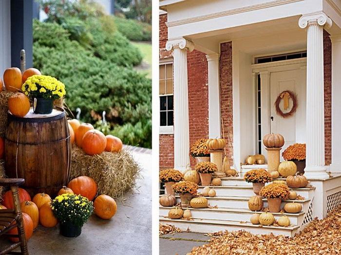 decoracion porche otono puerta hojas secas calabazas ideas