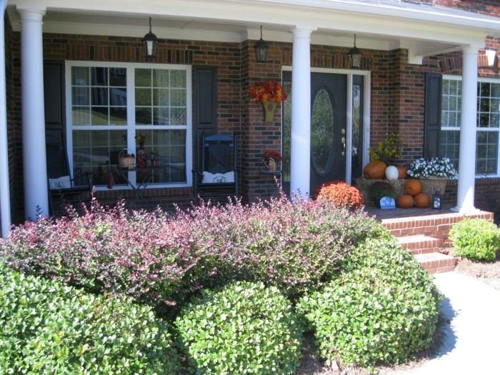decoracion porche otono puerta plantas calabazas ideas
