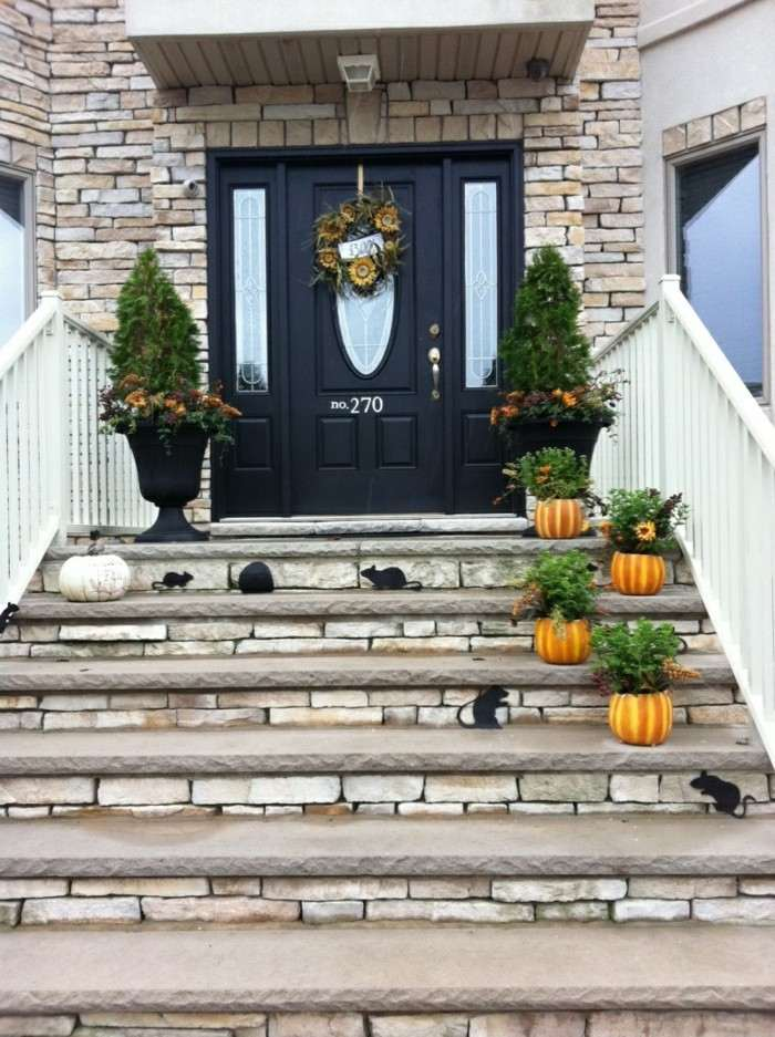 decoracion porche otono puertaescalera ratones ideas