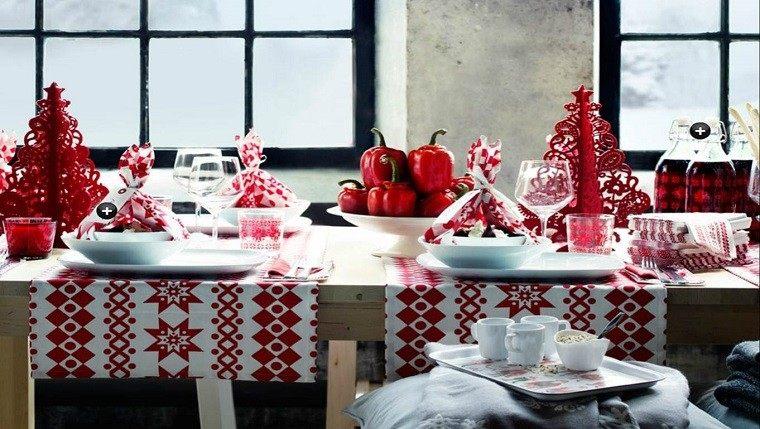 decoraciones roja blanca mesa navidad arboles navidad manteles ideas